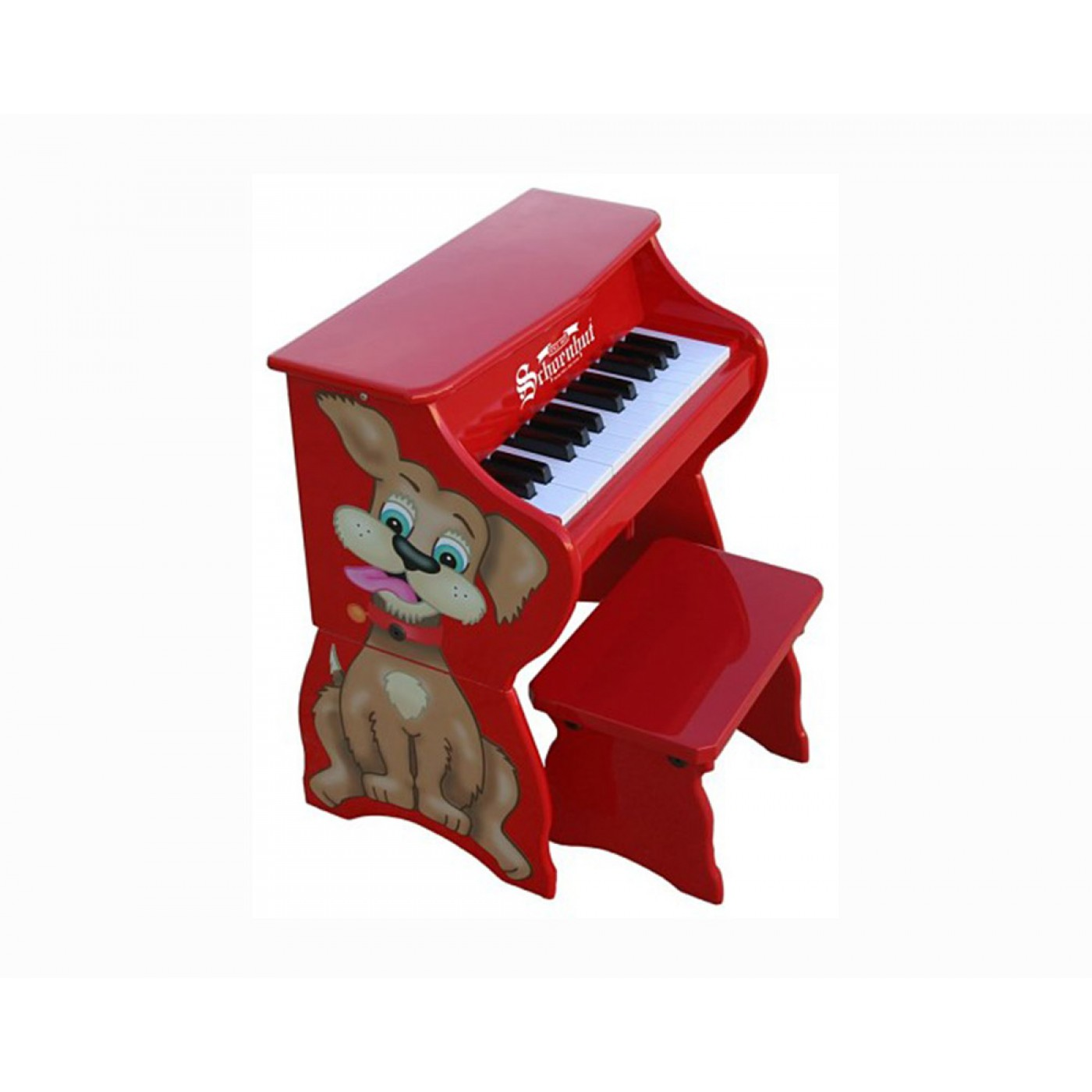 Piano Pals Dog w/ Bench 25-Key - Red