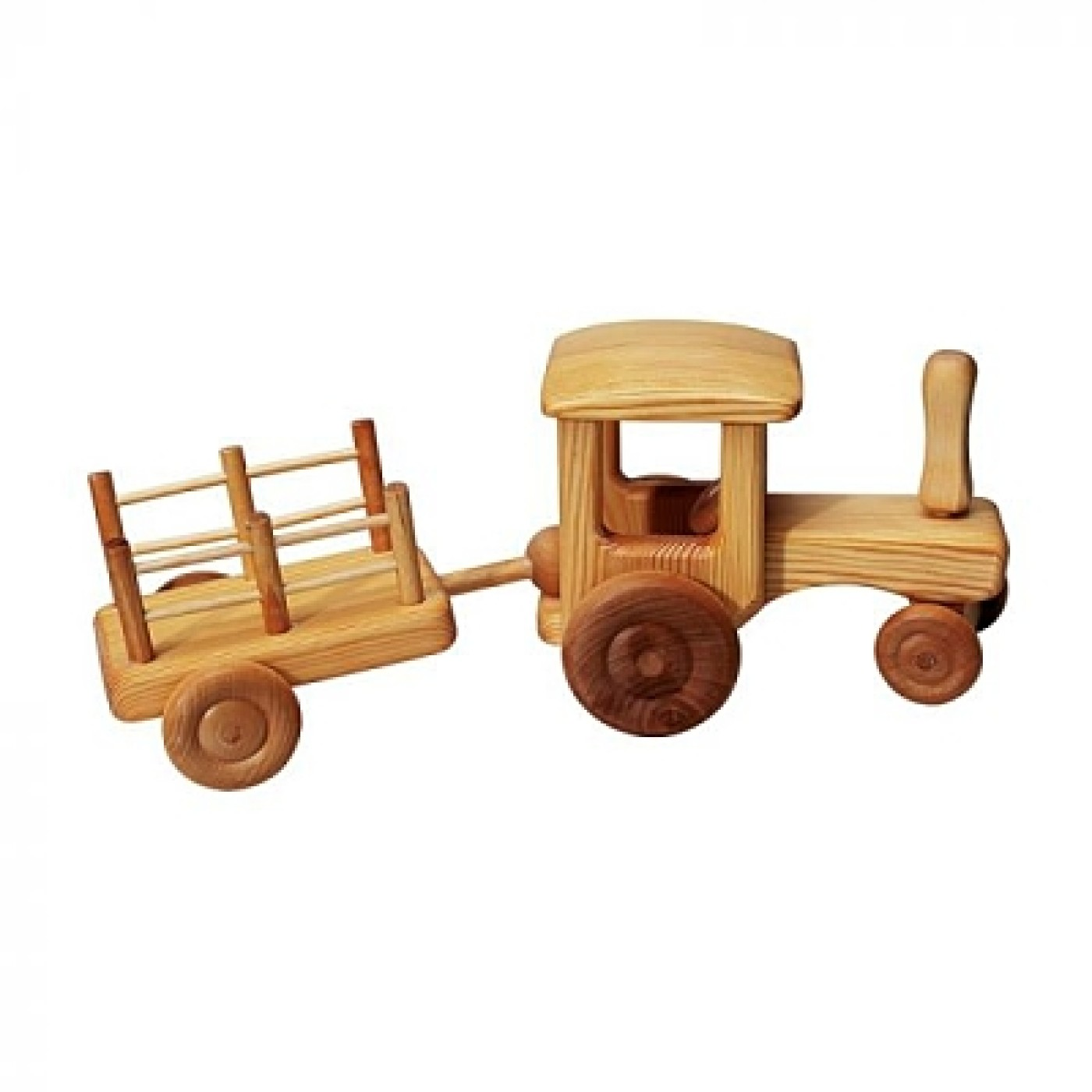 Debresk Wooden Toy Tractor w/ Trailer