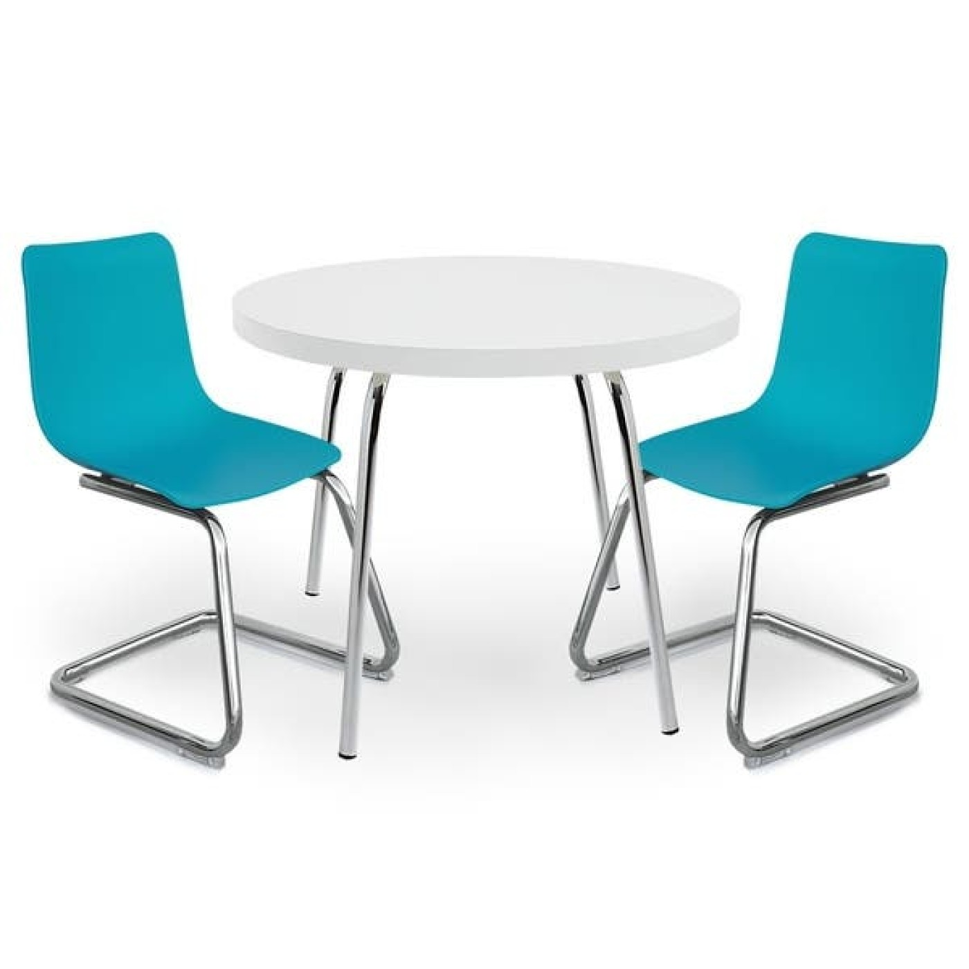 Modern Kids Round Table and Chairs - Blue