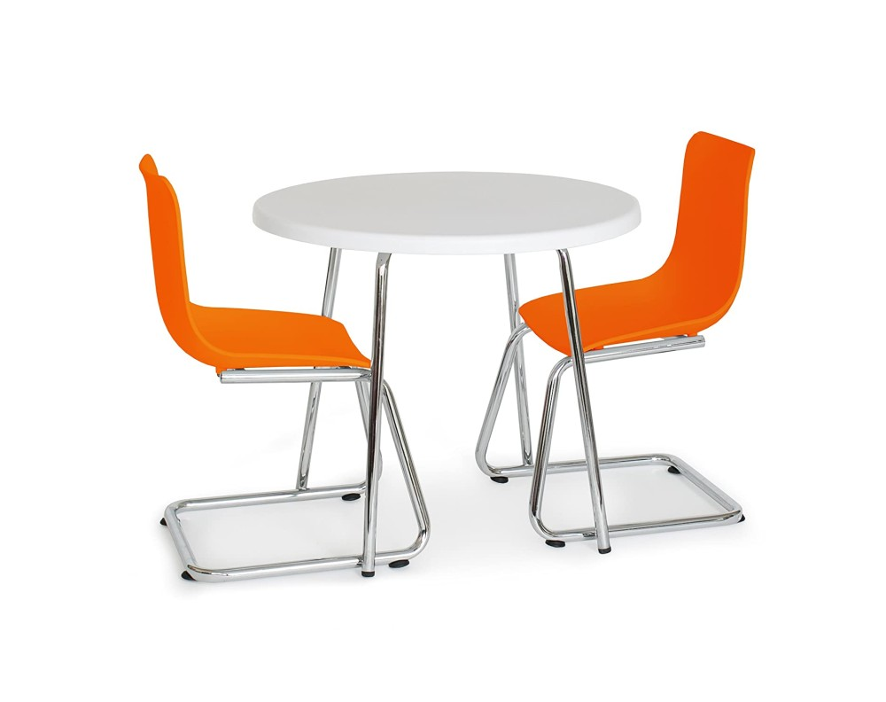 Modern Kids Round Table and Chairs - Orange