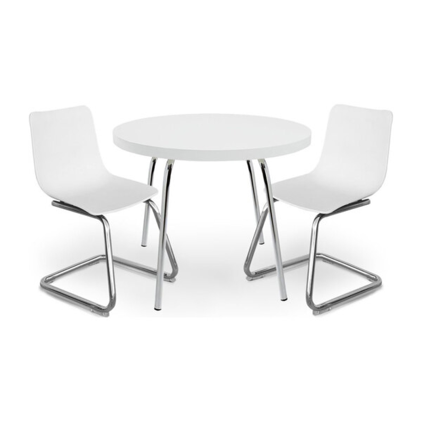 Modern Kids Round Table and Chairs - White